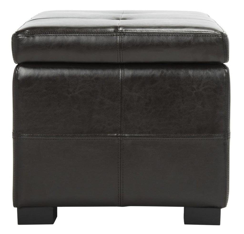 Safavieh Madison Bench Small Storage Brown Black Wood Birch Bicast Leather HUD8227A 683726635659