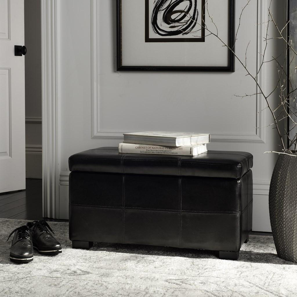 Safavieh Madison Bench Small Storage Black Wood Birch Bicast Leather HUD8227B 683726780977