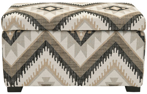Safavieh Madison Bench Small Storage Tribal Design Black Wood Birch Polyester Linen Viscose HUD8227C 683726426714