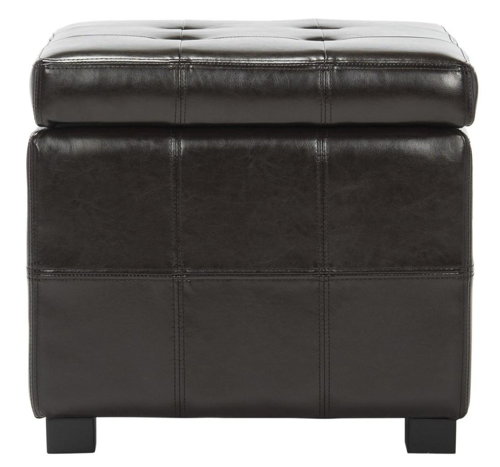 Safavieh Maiden Ottoman Square Tufted Brown Black Wood Birch Bicast Leather HUD8231A 683726635697