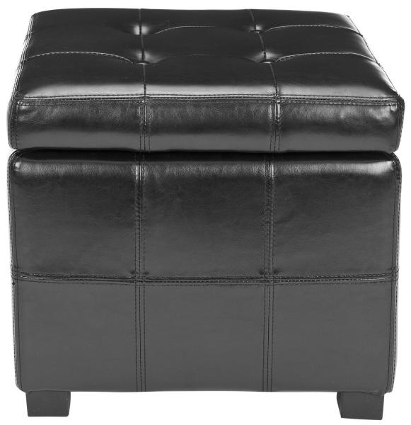 Safavieh Maiden Ottoman Square Tufted Black Wood Birch Bicast Leather HUD8231B 683726785088