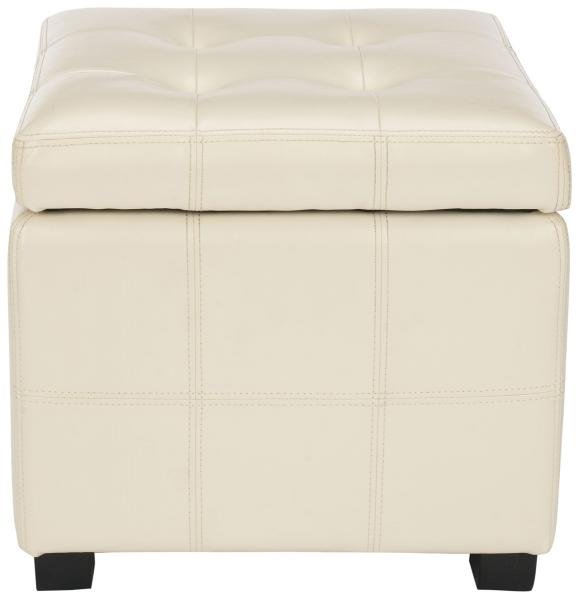 Safavieh Maiden Ottoman Square Tufted Flat Cream Black Wood Birch Bicast Leather HUD8231K 683726785118