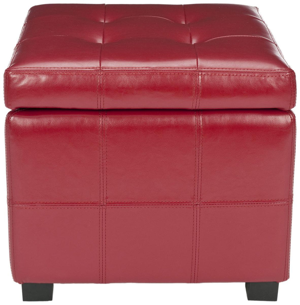 Safavieh Maiden Ottoman Square Tufted Red Black Wood Birch Bicast Leather HUD8231R 683726785163