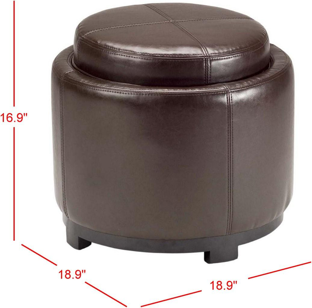 Safavieh Chelsea Ottoman Round Tray Brown Black Wood Birch Bicast Leather HUD8232A 683726635703