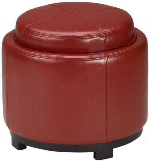 Safavieh Chelsea Ottoman Round Tray Red Black Wood Birch Bicast Leather HUD8232R 683726635734