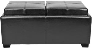 Safavieh Harrison Ottoman Double Tray Black Wood Birch Bicast Leather HUD8234B 683726792888