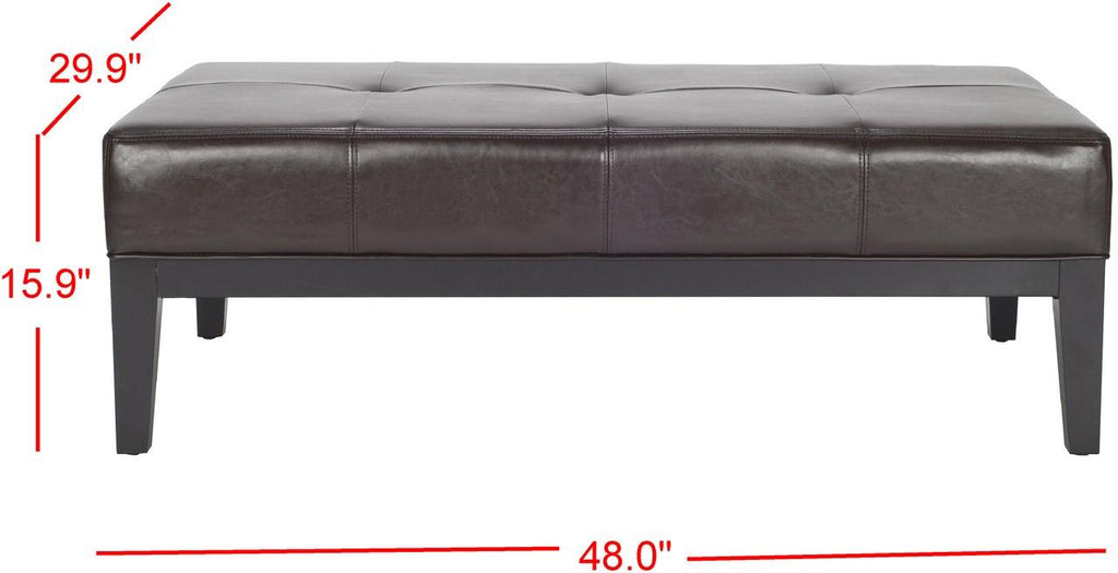 Safavieh Fulton Ottoman Rectangle Cocktail Brown Black Wood Birch Bicast Leather HUD8236A 683726636625
