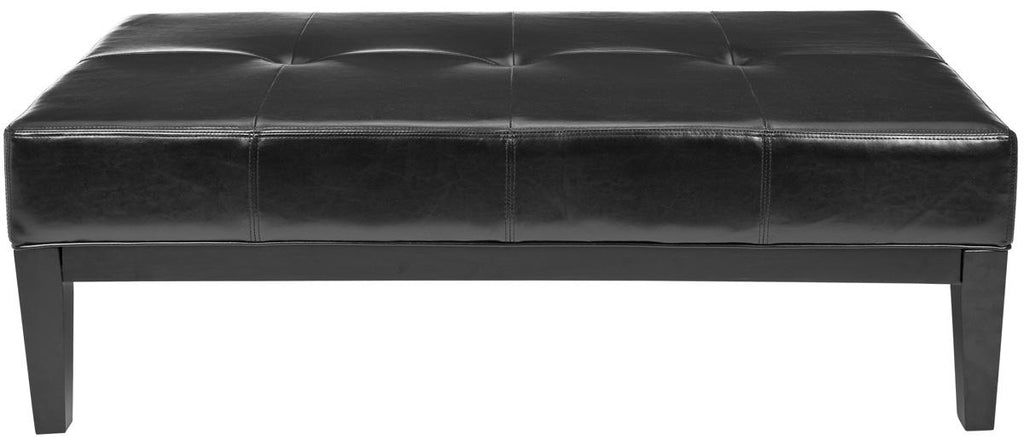 Safavieh Fulton Ottoman Rectangle Cocktail Black Wood Birch Bicast Leather HUD8236B 683726784753