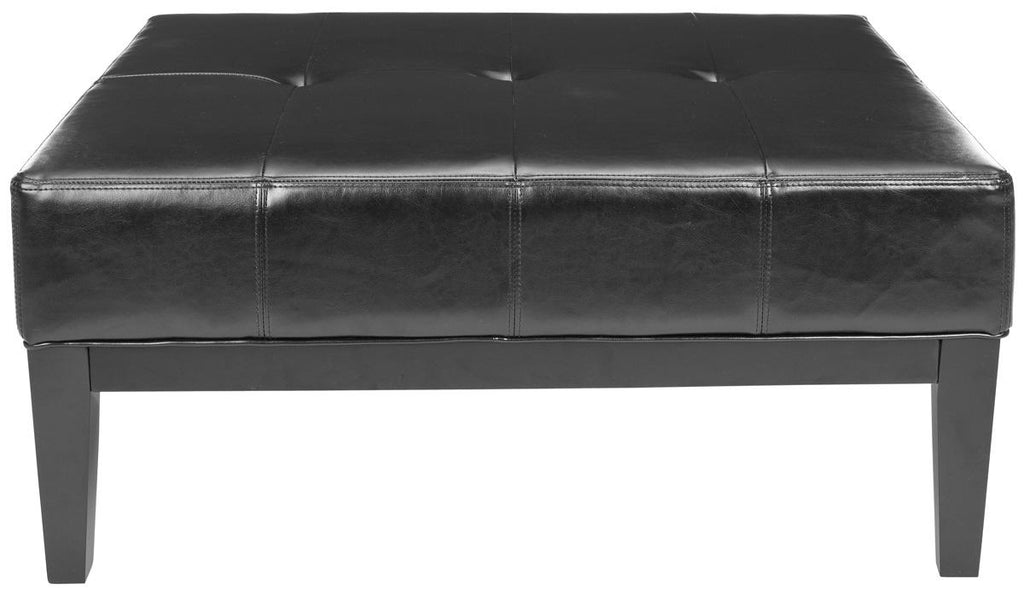 Safavieh Fulton Ottoman Large Squre Cocktail Black Wood Birch Bicast Leather HUD8237B 683726785040
