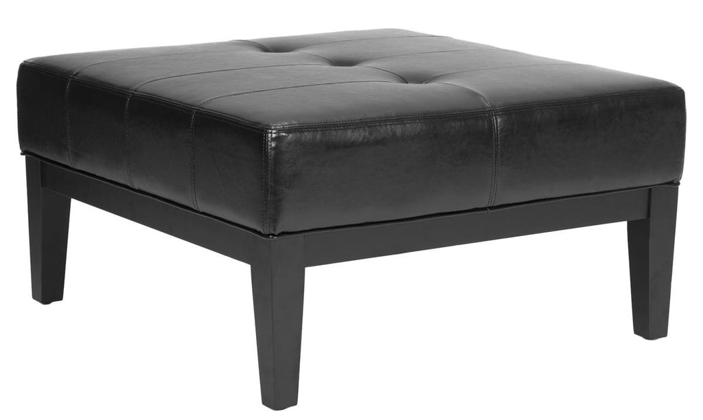Safavieh Fulton Ottoman Small Squre Cocktail Black Wood Birch Bicast Leather HUD8238B 683726784777