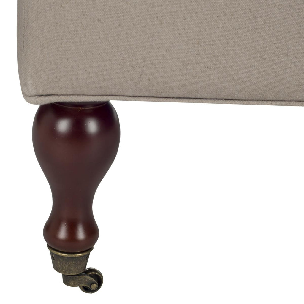 Safavieh Hampton Bench Pillowtop Taupe Cherry Mahogany Wood Birch Linen HUD8239A 683726748533