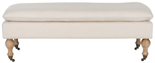 Safavieh Hampton Bench Pillowtop Cream White Wash Wood Oak Rayon Terelyne Cotton HUD8239L 683726746140