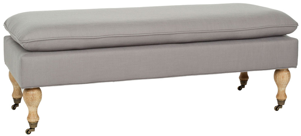 Safavieh Hampton Bench Pillowtop Arctic Grey Pickled Oak Wood Birch Terelyne Cotton 2 Rayon HUD8239S 683726368656