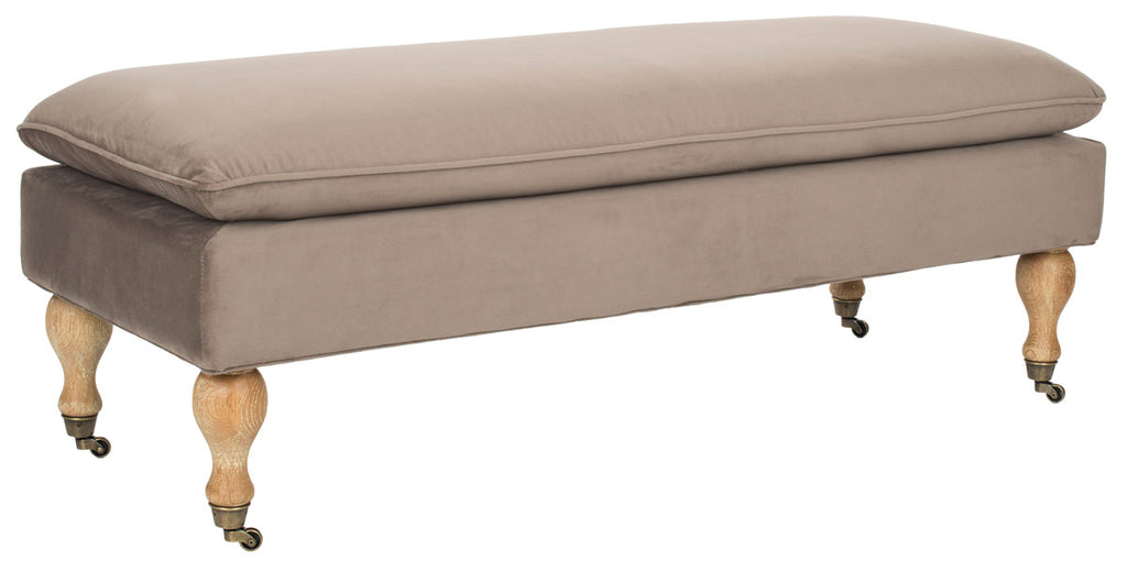 Safavieh Hampton Bench Pillowtop Mushroom Taupe Pickled Oak Wood Birch Stainless Steel Cotton HUD8239U 683726368670