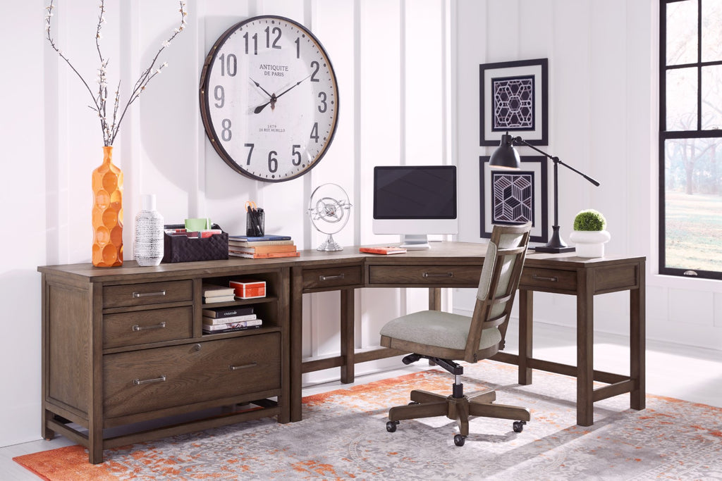 Terrace Point Transitional Tawny Rubberwood Solids - White Oak Veneer Desk Set