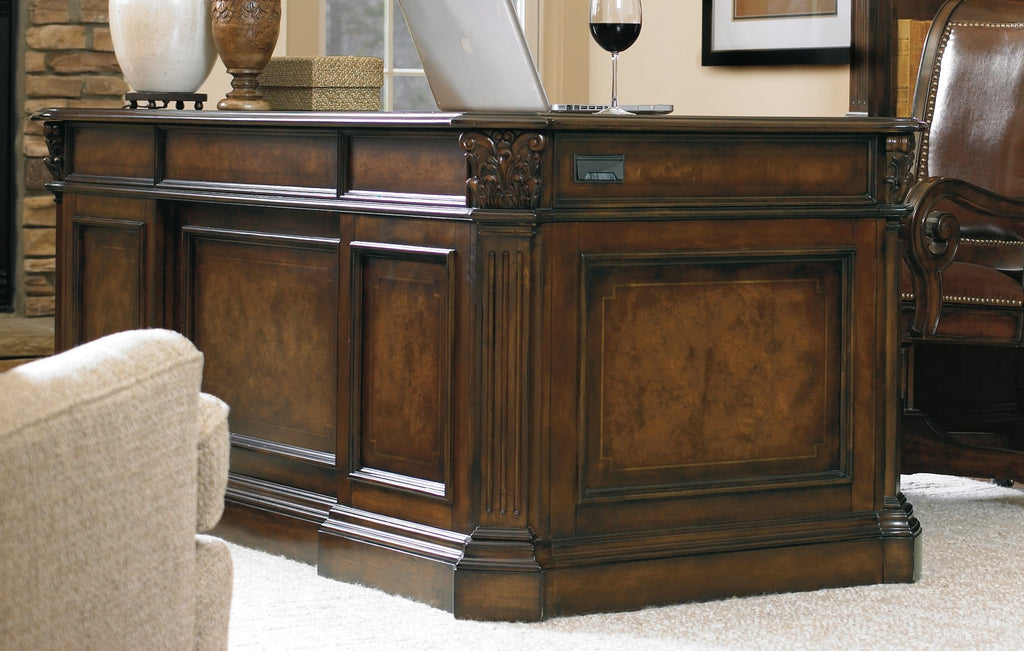 Hooker Furniture European Renaissance II Traditional-Formal 73'' Executive Desk in Hardwood Solids, Myrtle Burl, Clear Maple, Walnut & Cherry Veneers 374-10-562