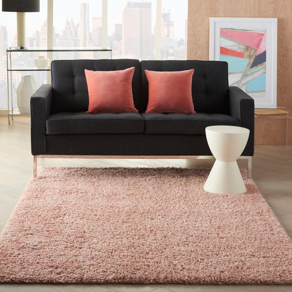 "Malibu Shag MSG01 Power-loomed 100% Polypropylene Blush 5'3"" x 7'3"" Rectangle Rug"