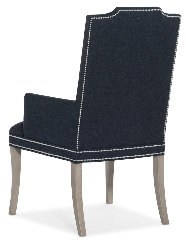 Hooker Furniture Reverie Transitional Host Chair in Rubberwood Solids with Twill Indigo Fabric 5795-75500-49