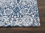 Damask DAS06 Power Loomed 83% Polyester, 14% Cotton, 3% Rayon Ivory/Navy 5' x 7' Rectangle Rug