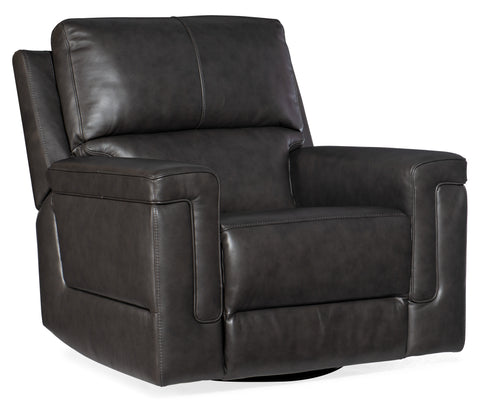 Gable Leather Power Swivel Glider with Power Headrest