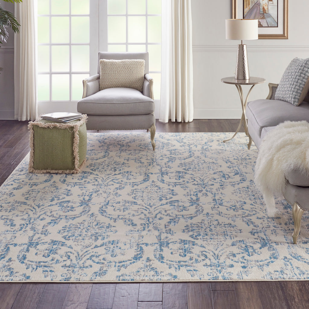 "Jubilant JUB09 Power Loomed 100% Polypropylene Ivory/Blue 7'10"" x 9'10"" Rectangle Rug"