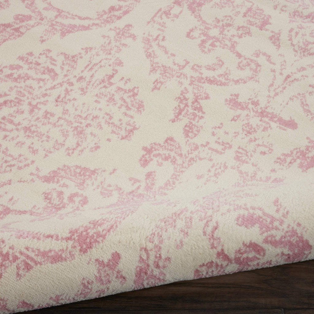 "Jubilant JUB09 Power Loomed 100% Polypropylene Ivory/Pink 7'10"" x 9'10"" Rectangle Rug"