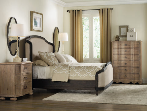 Corsica Traditional/Formal Upholstered Shelter Bed Headboard in Acacia