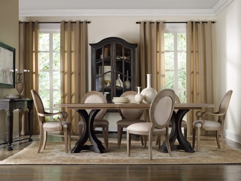 Hooker Furniture Corsica Traditional-Formal Dark Rectangle Pedestal Dining Table (Dark Base/Light Top) in Acacia Solids and Veneers 5280-75216