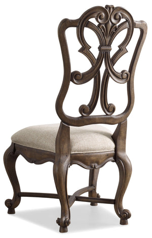 Hooker Furniture - Set of 2 - Rhapsody Traditional-Formal Wood Back Side Chair in Hardwood Solids, Fabric 5070-75411