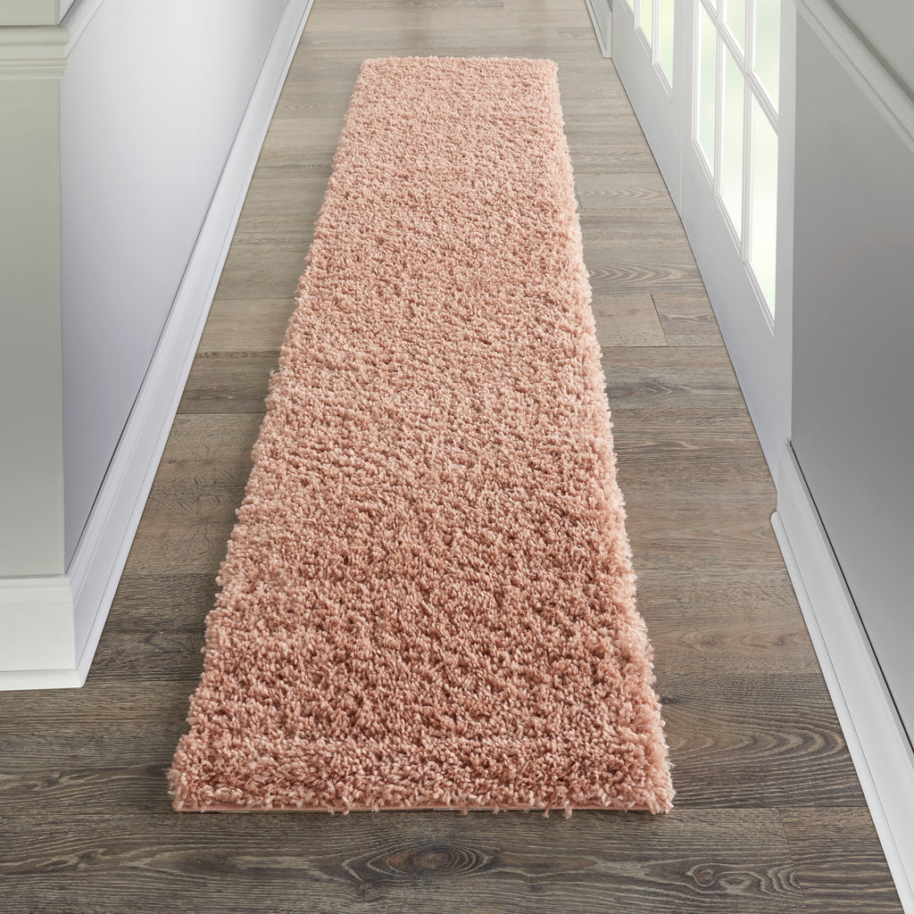"Malibu Shag MSG01 Power-loomed 100% Polypropylene Blush 2'2"" x 7'6"" Runner Rug"