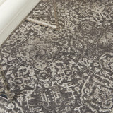 Damask DAS06 Power-loomed 83% Polyester, 14% Cotton, 3% Rayon Dark Grey 5' x 7' Rectangle Rug