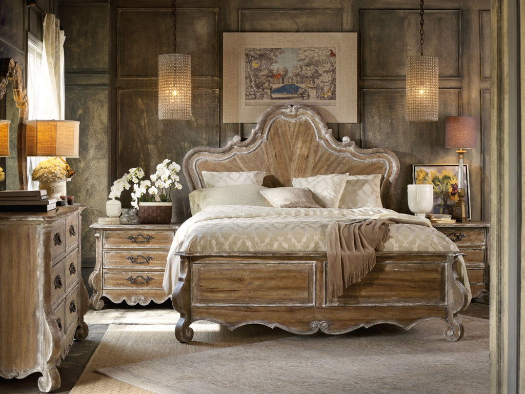 Hooker Furniture Chatelet Traditional-Formal King Wood Panel Headboard in Poplar Solids with Pecan Veneers and Resin 5300-90267