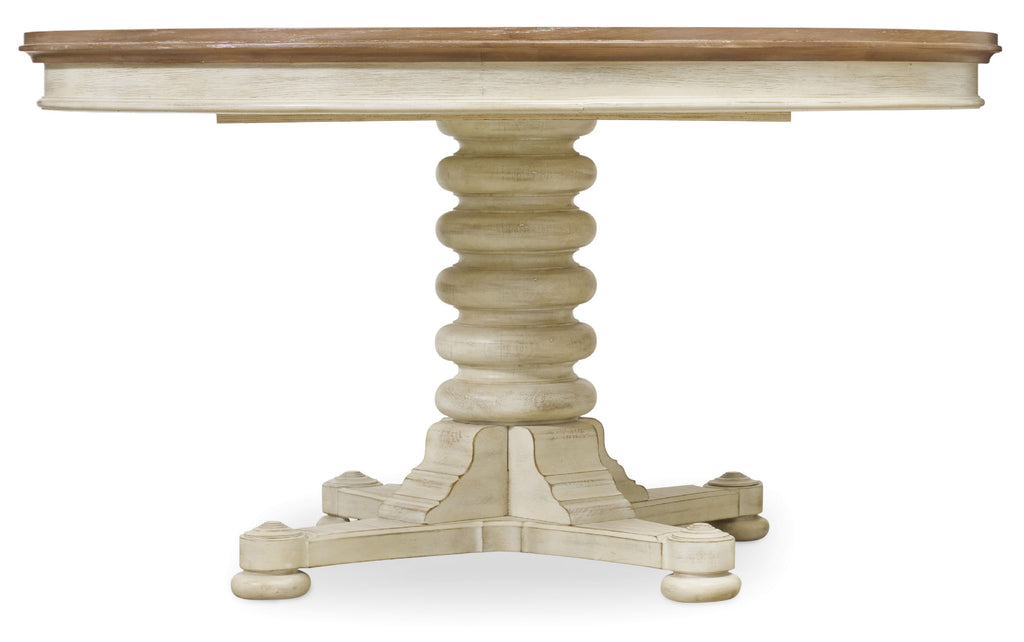 Hooker Furniture Sunset Point Casual Pedestal Dining Table with One 18'' Leaf in Rubberwood Solids and White Oak Veneers 5325-75203