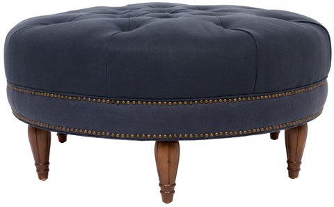 Safavieh Bedell Ottoman Round Tufted Bourbon Indigo Wood Fabric Birch Linen Couture KNT4056A 683726642473