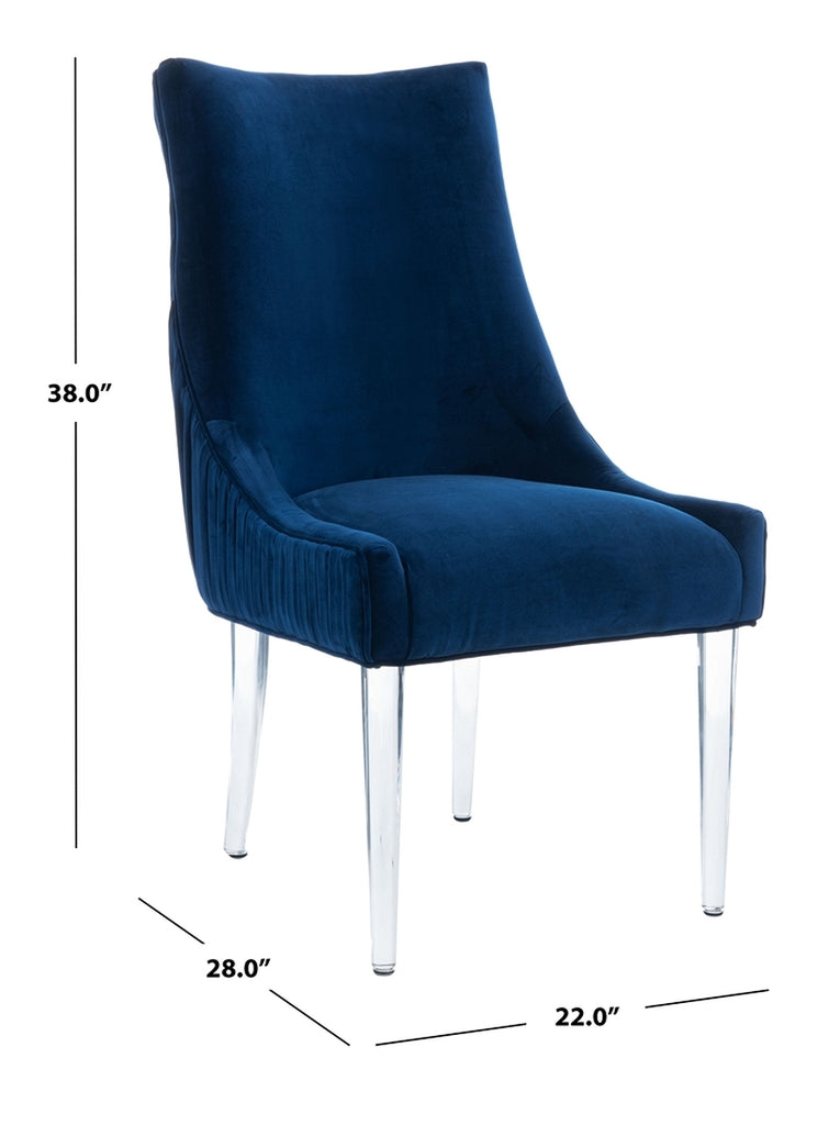 Safavieh De Luca Acrylic Leg Dining Chair in Navy Couture KNT4106C