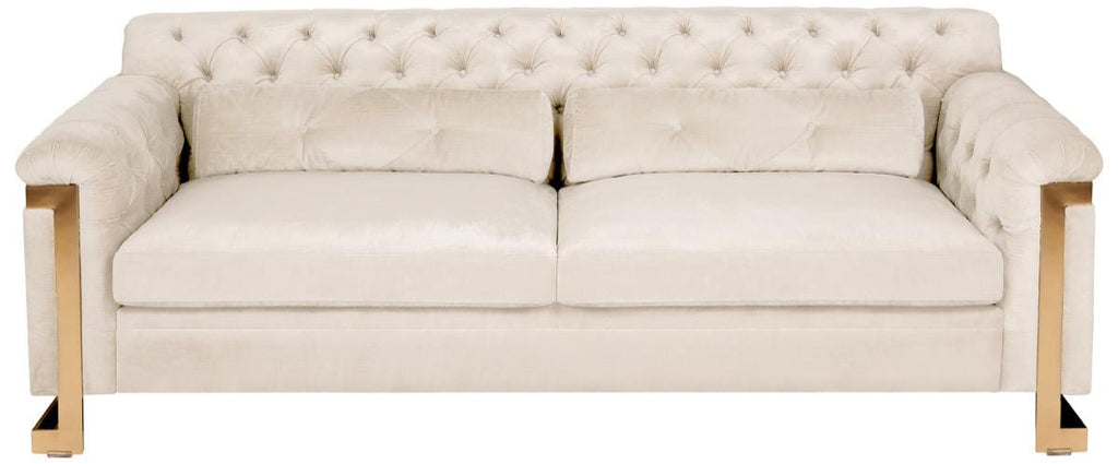 Safavieh Lethbridge Sofa Tufted Velvet White Champagne Gold Stainless Steel Hard Pine Plywood Rayon Polyester Couture KNT7000C 889048080461