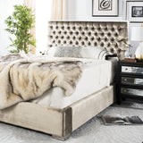 Safavieh Chester King Bed Tufted Velvet Champagne Polished Stainless Steel Fabric Viscose Cotton Couture KNT7009A 683726624073