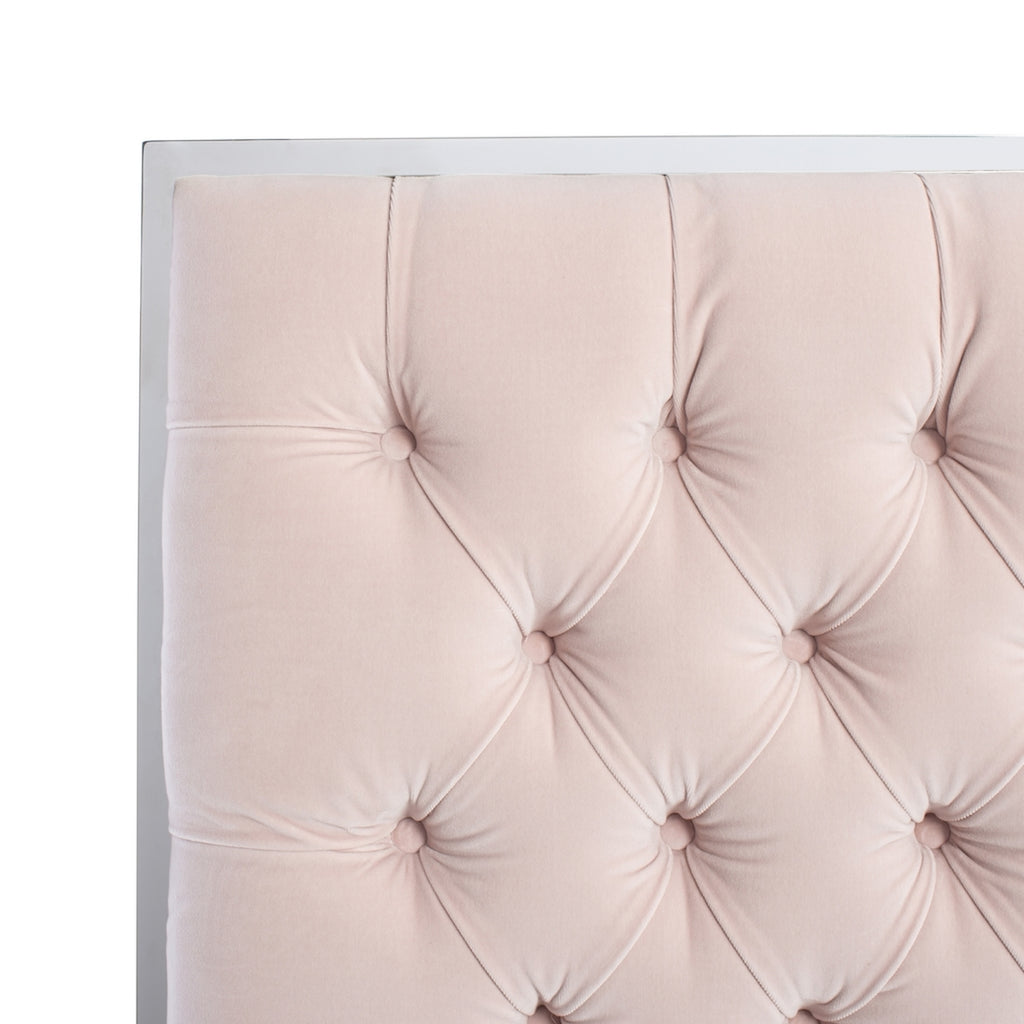 Safavieh Chester Tufted Velvet King Bed in Giotto Misty Rose Couture KNT7009F