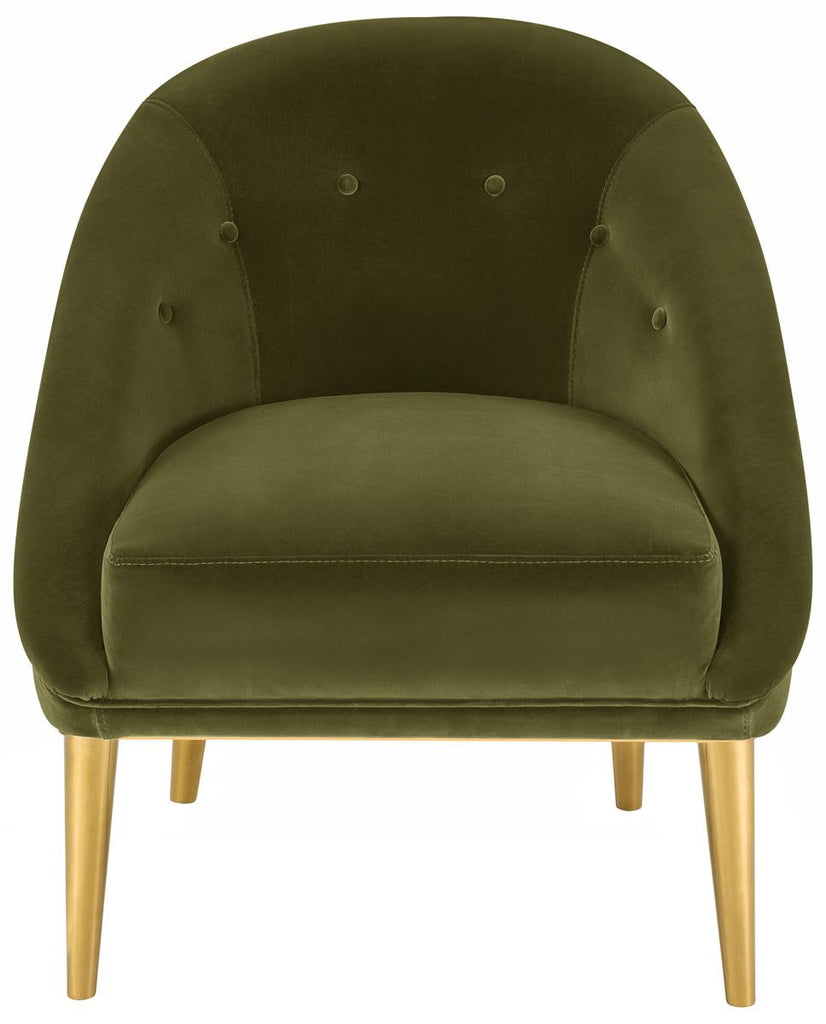 Safavieh Hopkins Club Chair with Gold Legs Velvet Dark Olive Green Champagne Stainless Steel Hard Pine Plywood Cotton Polyester Couture KNT7018A 889048132948