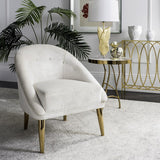 Safavieh Hopkins Club Chair with Gold Legs Velvet Bella White Champagne Stainless Steel Hard Pine Plywood Cotton Polyester Couture KNT7018B 889048201354