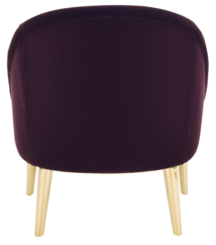Safavieh Hopkins Velvet Club Chair With Gold Legs in Giotto Cabernet Couture KNT7018C