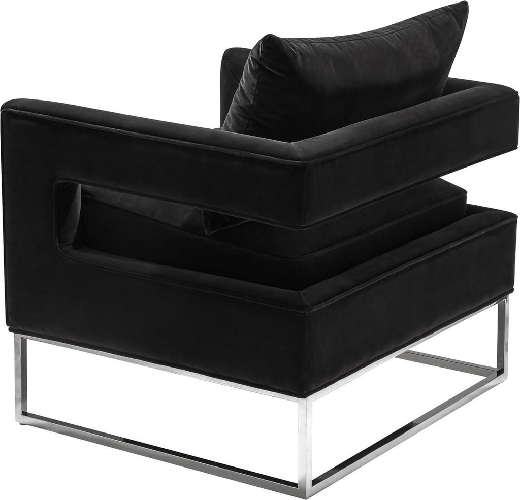 Safavieh Olivya Club Chair Velvet Black Chrome Silver Polished Stainless Steel Hard Pine Plywood Cotton Polyester Couture KNT7019A 889048132955