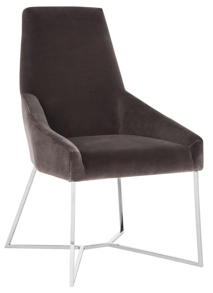 Safavieh Evrex Side Chair Velvet Giotto Smoke Stainless Steel Fabric Hard Pine Plywood Cotton Polyester Couture KNT7024A 889048165045