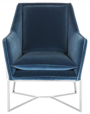 Safavieh Evrex Club Chair Velvet Giotto Royal Blue Stainless Steel Fabric Hard Pine Plywood Cotton Polyester Couture KNT7025A 889048165052