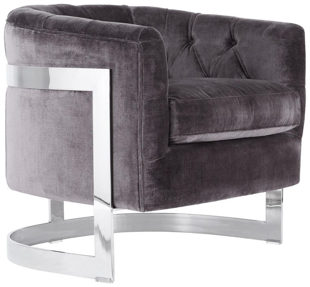 Safavieh Zealand Chair Velvet Bella Shale Grey Stainless Steel Fabric Rayon Polyester Couture KNT7034A 889048165168