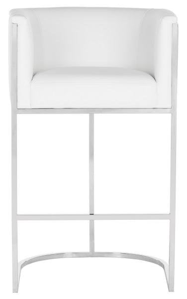 Safavieh Shiloh Bar Stool Leather White Stainless Steel Fabric Polyester PU Cotton Couture KNT7037A 889048239784