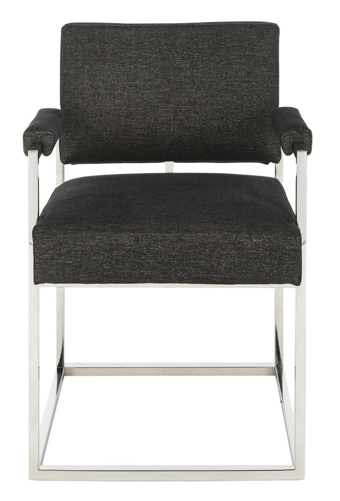Safavieh Jenette Arm Chair Velvet Hemingway Black Polished Stainless Steel Fabric Couture KNT7043A 889048396234