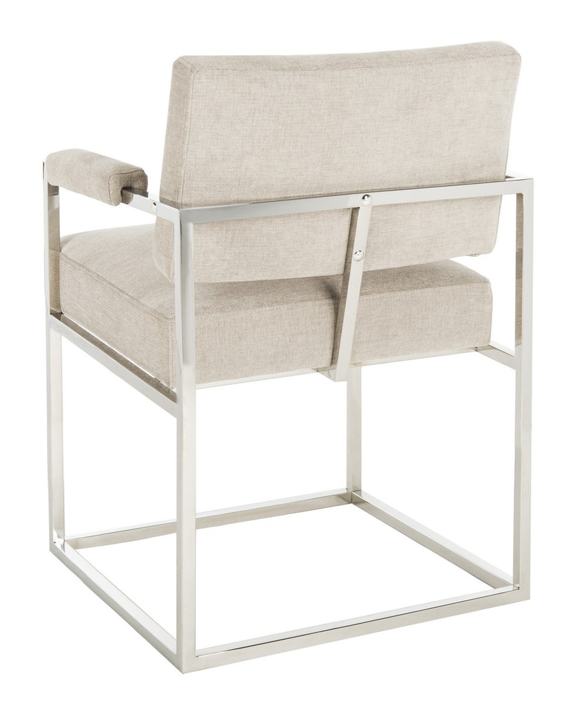 Safavieh Jenette Arm Chair Velvet Hemingway Silver Polished Stainless Steel Fabric Couture KNT7043B 889048396241