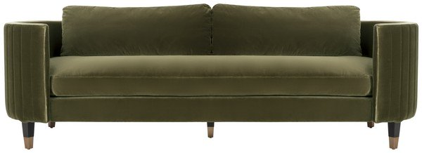 Safavieh Winford Sofa Velvet Espresso Giotto Dark Olive Green Antique Brass Wood Hard Pine Plywood Cotton Polyester Couture KNT7045A 889048391000