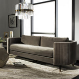 Safavieh Winford Sofa Velvet Espresso Giotto Mouse Antique Brass Wood Hard Pine Plywood Cotton Polyester Couture KNT7045B 889048401556